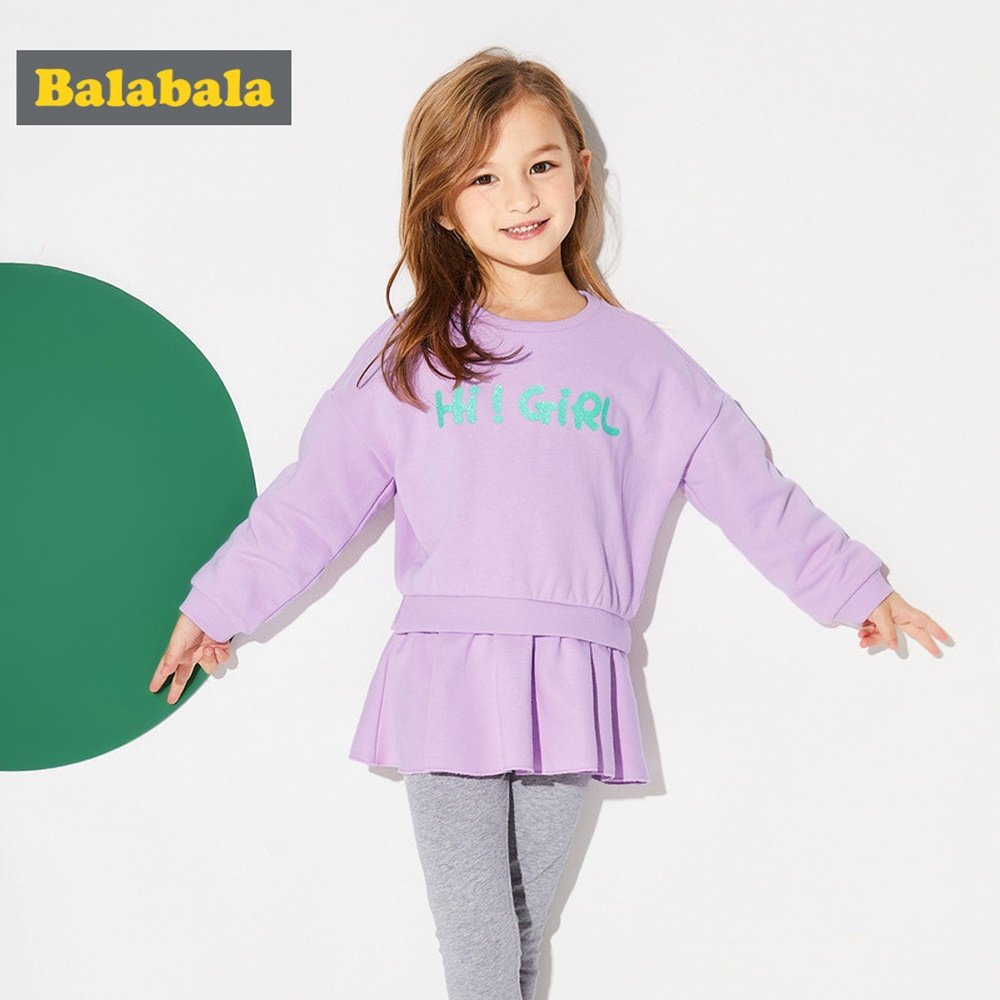 Balabala巴拉巴拉-寬鬆長板傘型上衣套裝-女(2色)