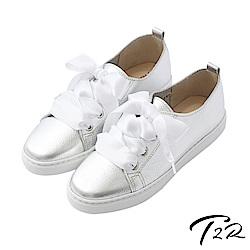 【T2R】全真皮手工甜美綁帶懶人鞋-銀