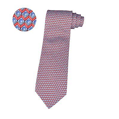 HERMES愛馬仕BILLARD經典緹花LOGO撞球巧克設計蠶絲領帶(紅)
