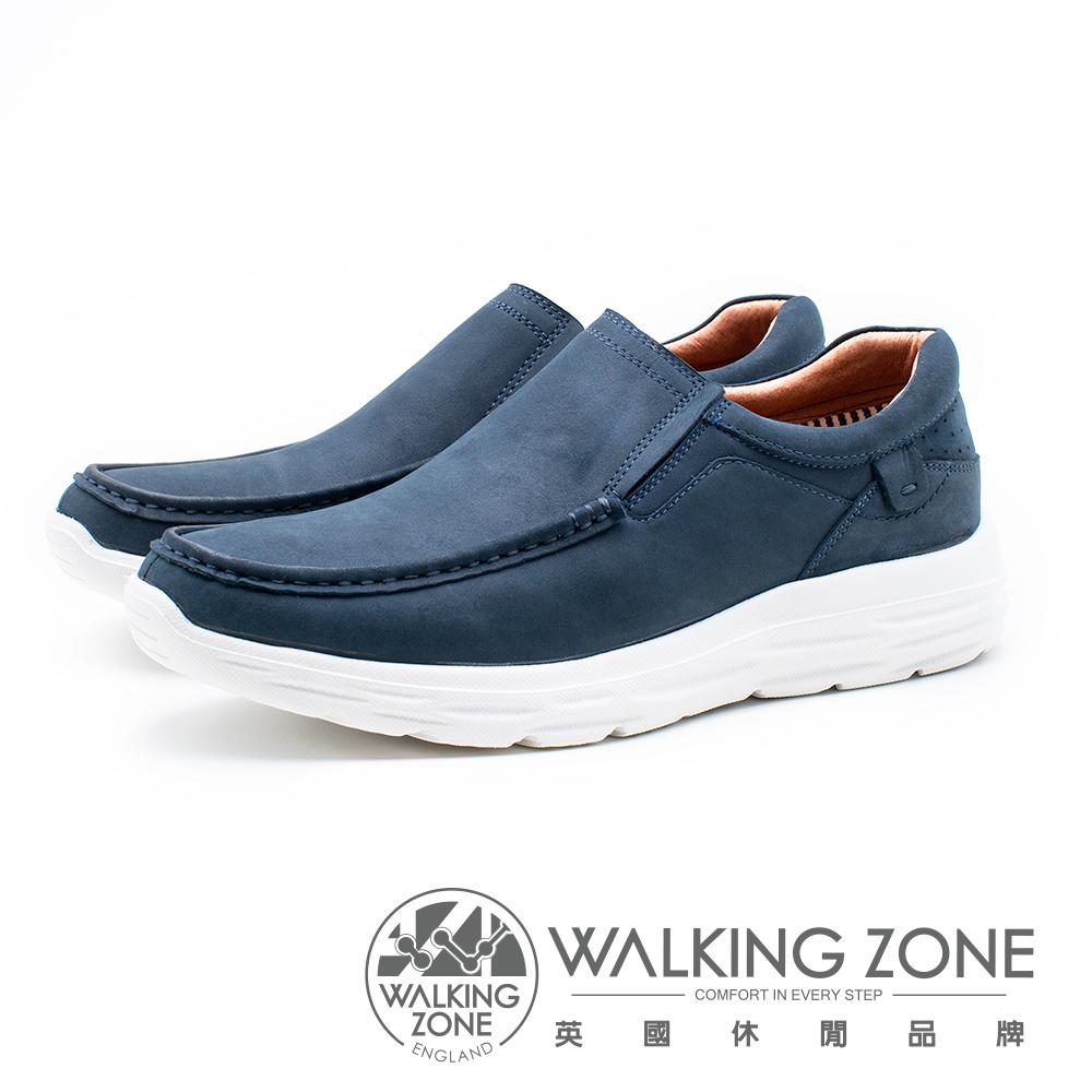 WALKING ZONE 皮質直套輕量運動休閒鞋 男鞋 - 藍(另有灰棕)