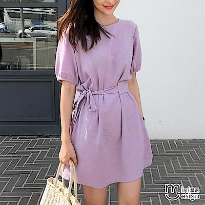 造型綁帶公主袖短版洋裝 紫色-mini嚴選