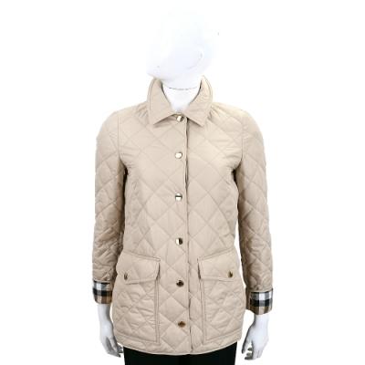 BURBERRY 菱形絎縫格紋細節口袋鋪棉外套(卡其)