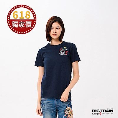 BIG TRAIN 招財貓圓領短袖女款-女-深藍