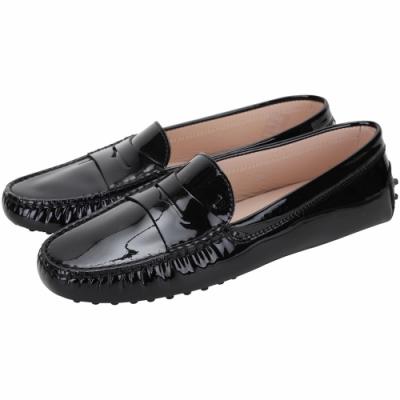 TOD'S Gommino Driving 漆皮豆豆休閒鞋(女鞋/黑色)