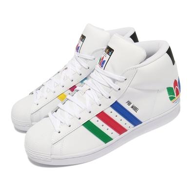 adidas 休閒鞋 Pro Model 運動 男女鞋 海外限定 愛迪達 高筒 簡約 情侶穿搭 白 彩 FX0183