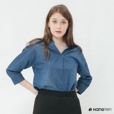 Hang Ten - 女裝 - 小開領丹寧刷色襯衫 - 深藍