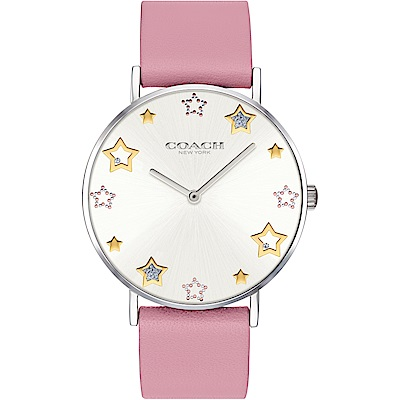 COACH COACH 閃亮星星圖騰俏麗女錶(14503243)-銀x粉/36mm