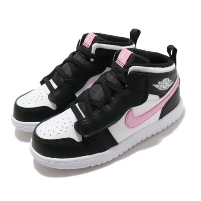 Nike 休閒鞋 Jordan 1 Mid ALT 童鞋 基本款 簡約 魔鬼氈 喬丹 小童 穿搭 白 粉 AT4613103
