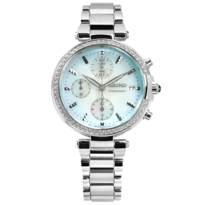 SEIKO 精工 施華洛世奇晶鑽 計時 日期 日本機芯 不鏽鋼手錶-藍色/35mm