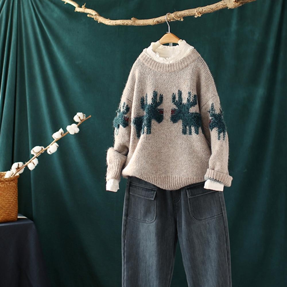 聖誕麋鹿螺紋圓領毛衣寬鬆外穿加厚針織衫-設計所在