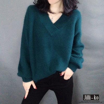 JILLI-KO V領燈籠袖仿羊駝絨針織毛衣- 綠/卡