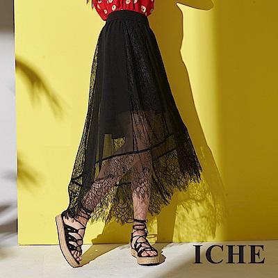ICHE 衣哲 法式精緻3D睫毛蕾絲不規則傘擺造型中長裙-黑