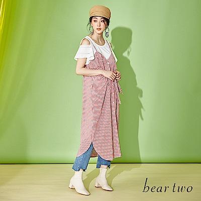 beartwo 朝氣格紋蝴蝶結帶細肩洋裝(二色)