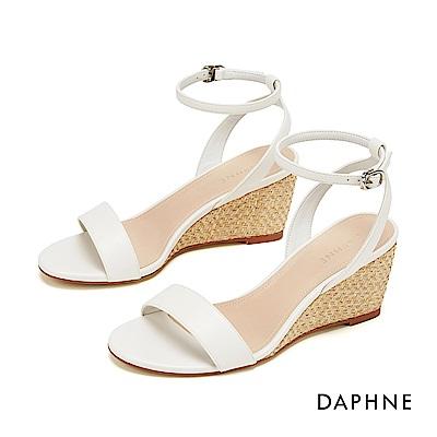 達芙妮DAPHNE 涼鞋-簡約一字帶編織楔形涼鞋-白色
