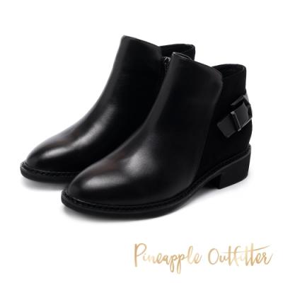 Pineapple Outfitter-BIAGIO率性異材質拼接皮帶扣短靴-黑色
