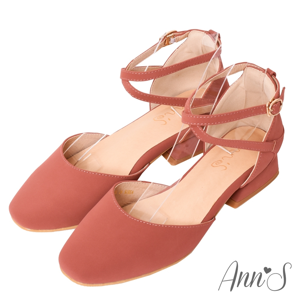 Ann'S重塑芭蕾-繫帶前交叉小方頭低跟鞋-粉