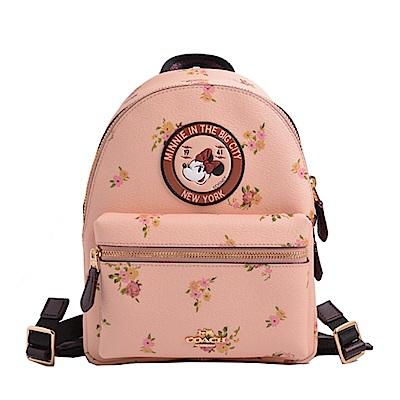 COACH x DISNEY聯名款 立體馬車LOGO米妮防刮皮革拉鍊後背包-蜜桃色花卉