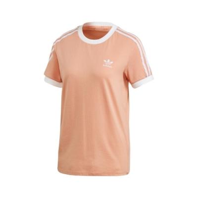 adidas T恤 3-Stripes Tee 運動休閒 女款 愛迪達 三葉草 三線 圓領 棉質 穿搭 橘 白 FM3320