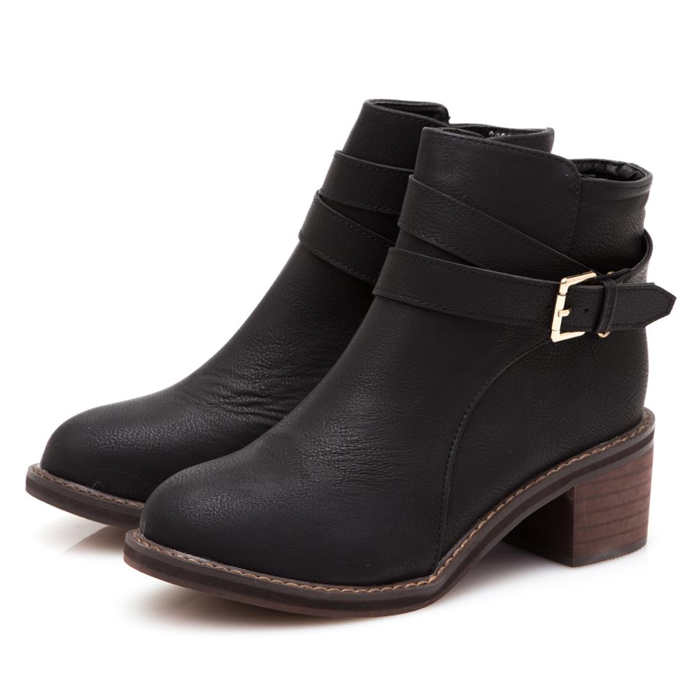 JMS-率性風格金屬側扣環拉鍊短靴-黑色