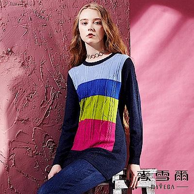 【麥雪爾】義大利羊毛色塊拼接針織衫