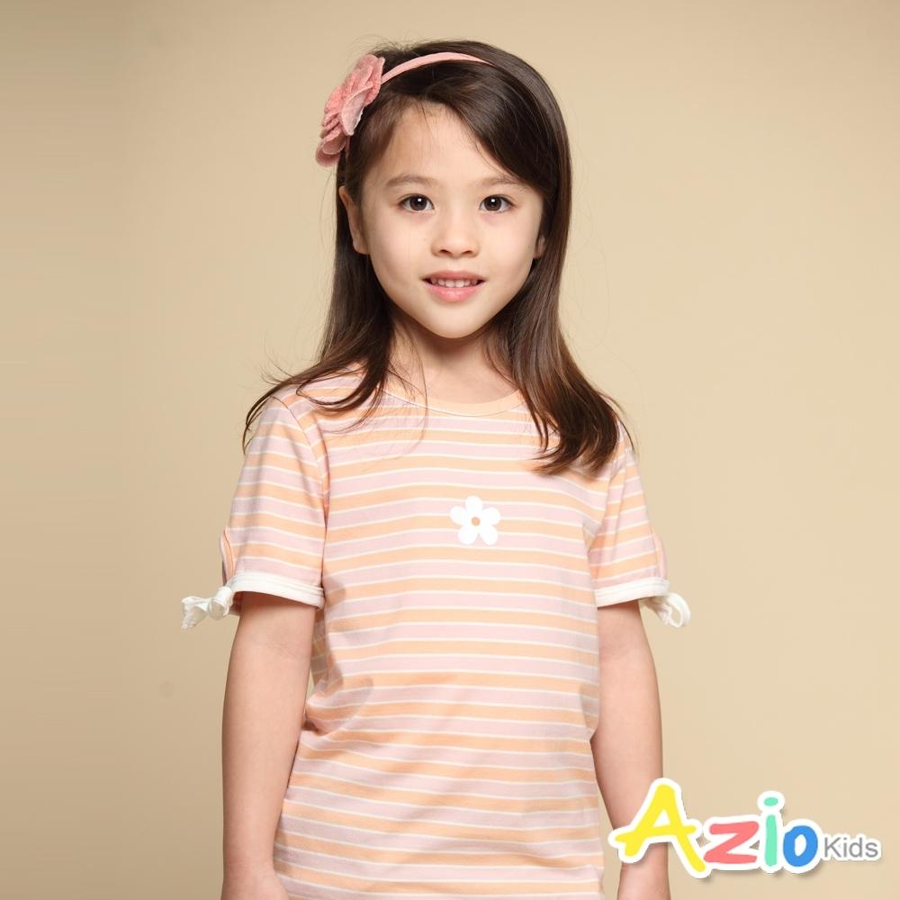 Azio Kids 女童 上衣 小白花印花袖口綁帶蝴蝶結條紋短袖上衣T恤(粉)