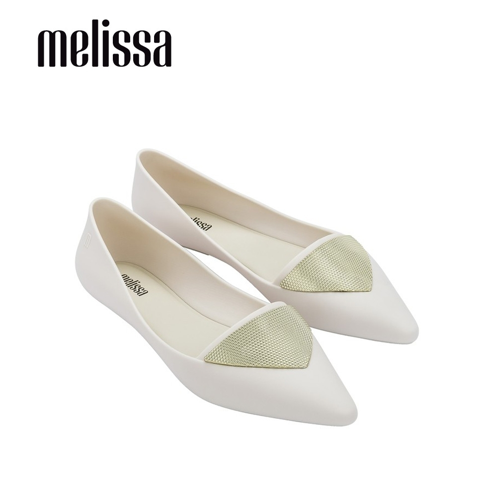 Melissa POINTY IV三角裝飾尖頭平底鞋-米