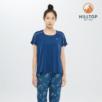 【hilltop山頂鳥】女款吸濕快乾彈性抗UVT恤S04FJ1深沉藍