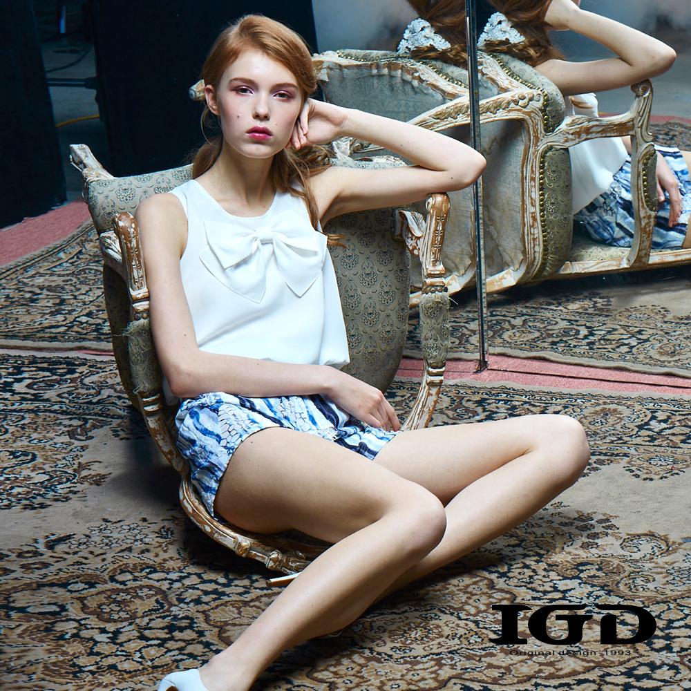 IGD英格麗 蝴蝶結設計雪紡連身褲-藍