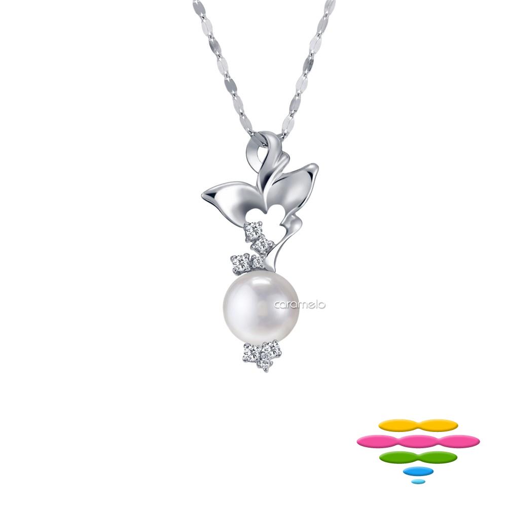 彩糖鑽工坊 日本Akoya海水珍珠項鍊&鑽石項鍊 晨露與蝶 系列