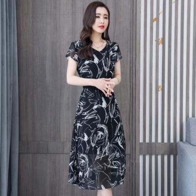 優雅黑白印花收腰飄逸雪紡洋裝M-3XL-REKO