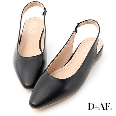 D+AF 清新品味.微尖頭素面後空低跟鞋*黑