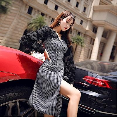 DABI 韓國風氣質V領呢子拼接格紋長袖洋裝