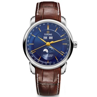 TITONI 梅花錶 大師系列天文台認證月相機械錶