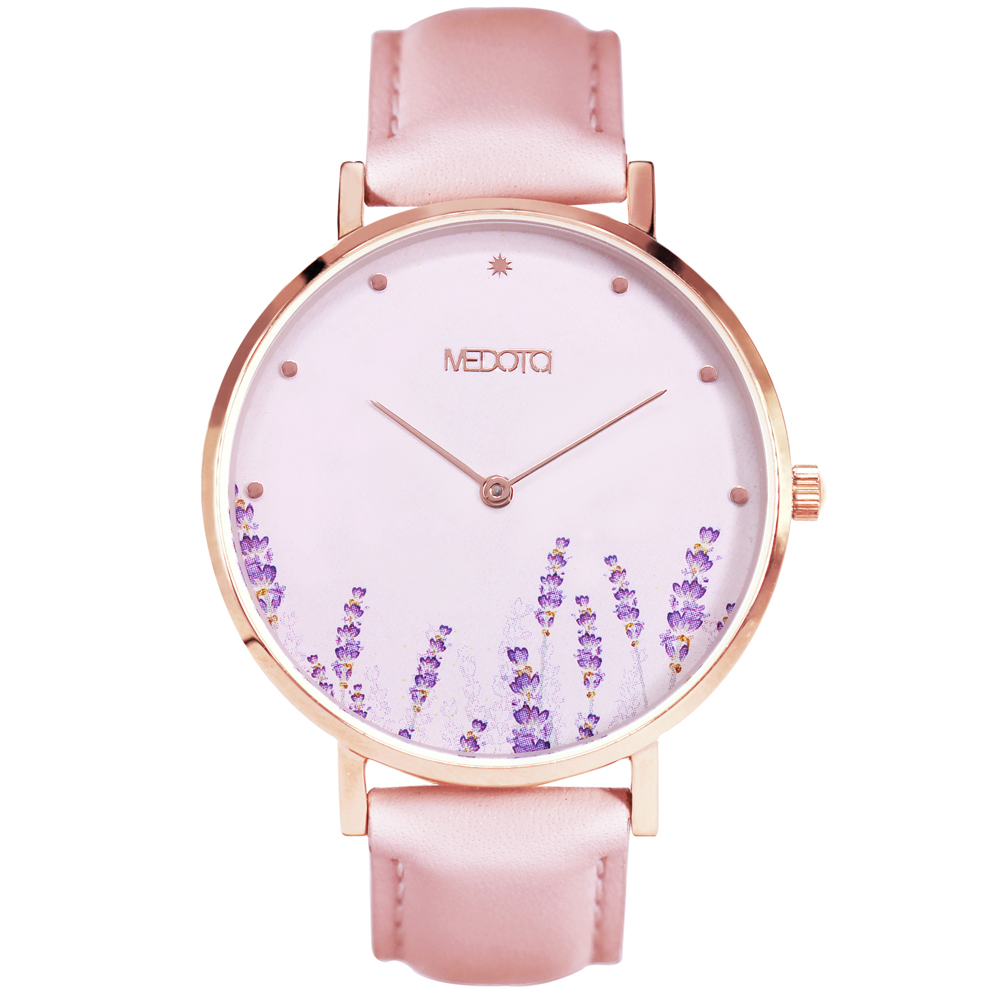 MEDOTA Blossom 系列 粉色真皮簡約女錶手錶