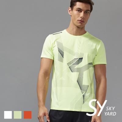 【SKY YARD 天空花園】幾何線條透氣網布運動T恤-黃色