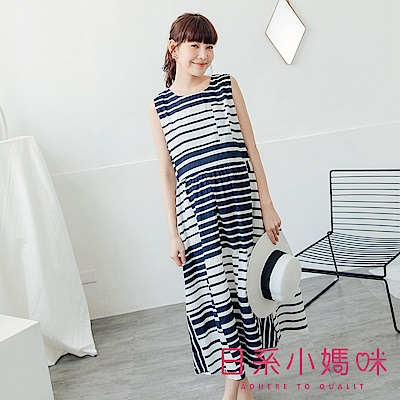 日系小媽咪孕婦裝-孕婦裝~拼色幾何條紋色塊棉麻背心洋裝