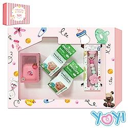 【YOYI】香草奶嘴彌月禮盒-4號香草紅象薔薇粉山茶花奶嘴鍊