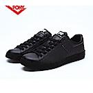 【PONY】TOP STAR 時尚皮革百搭情侶款小白鞋休閒鞋 運動鞋女鞋 黑