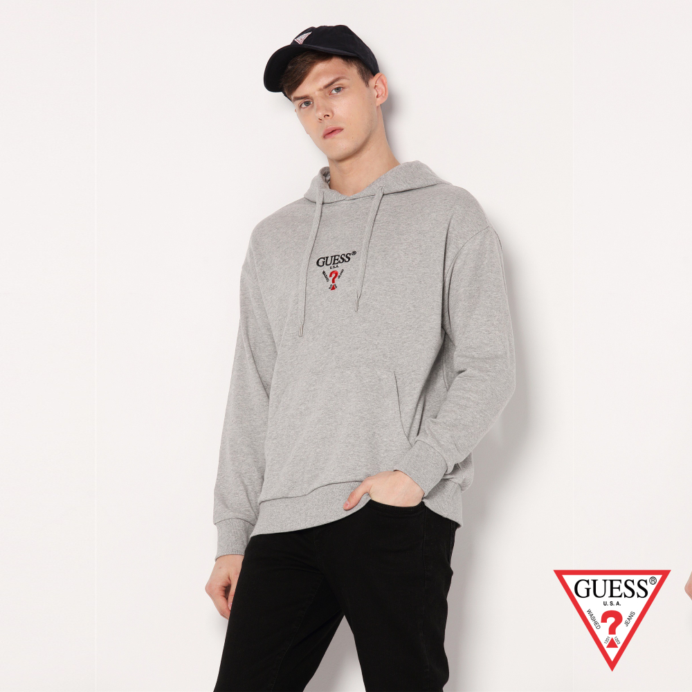 GUESS-男裝-純色刺繡LOGO落肩長袖帽T-灰 原價3990