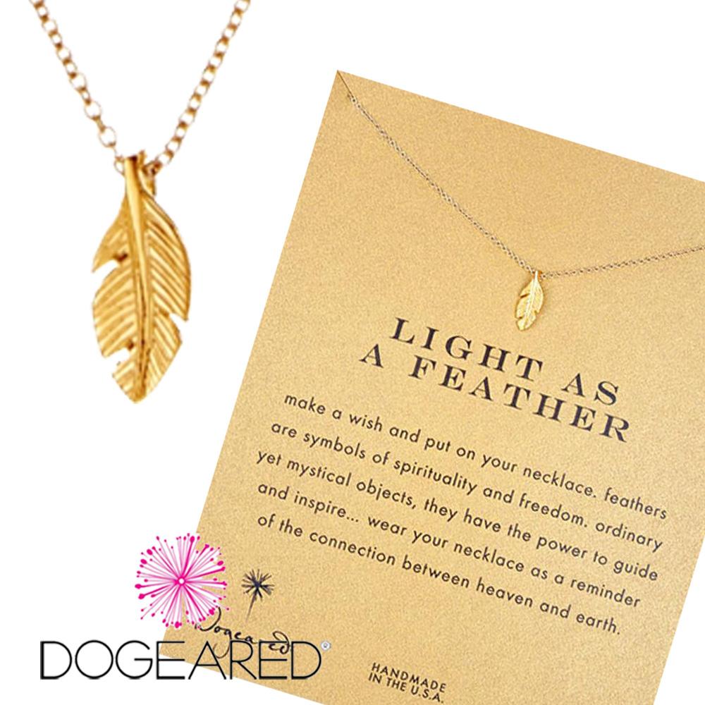 Dogeared 許願項鍊 金色羽毛 Light As A Feather 附原廠盒