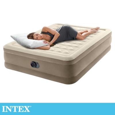 【INTEX】超厚絨豪華雙人加大充氣床-寬152cm (內建電動幫浦-fiber tech)(64427)