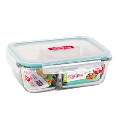 樂扣樂扣 蒂芬妮藍耐熱分隔玻璃保鮮盒長方形950ML(快)