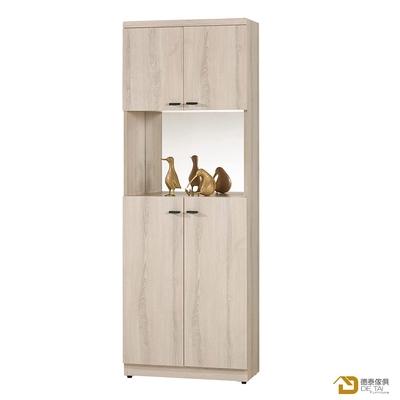 D&T 德泰傢俱 Tor明亮生活2尺鏡面玄關鞋櫃 寬60.5X深32X高183.5(公分)