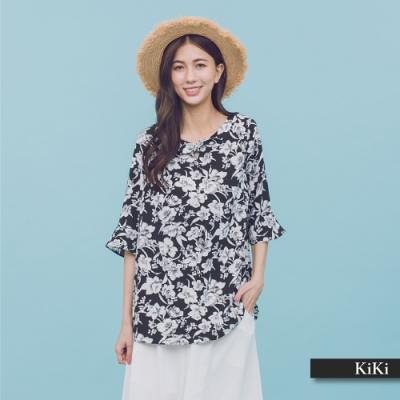 【KiKi】波浪袖碎花-上衣(二色)