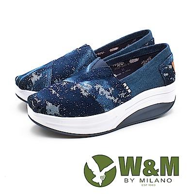 W&M(女) BOUNCE系列 銀河系 透氣增高厚底鞋-藍