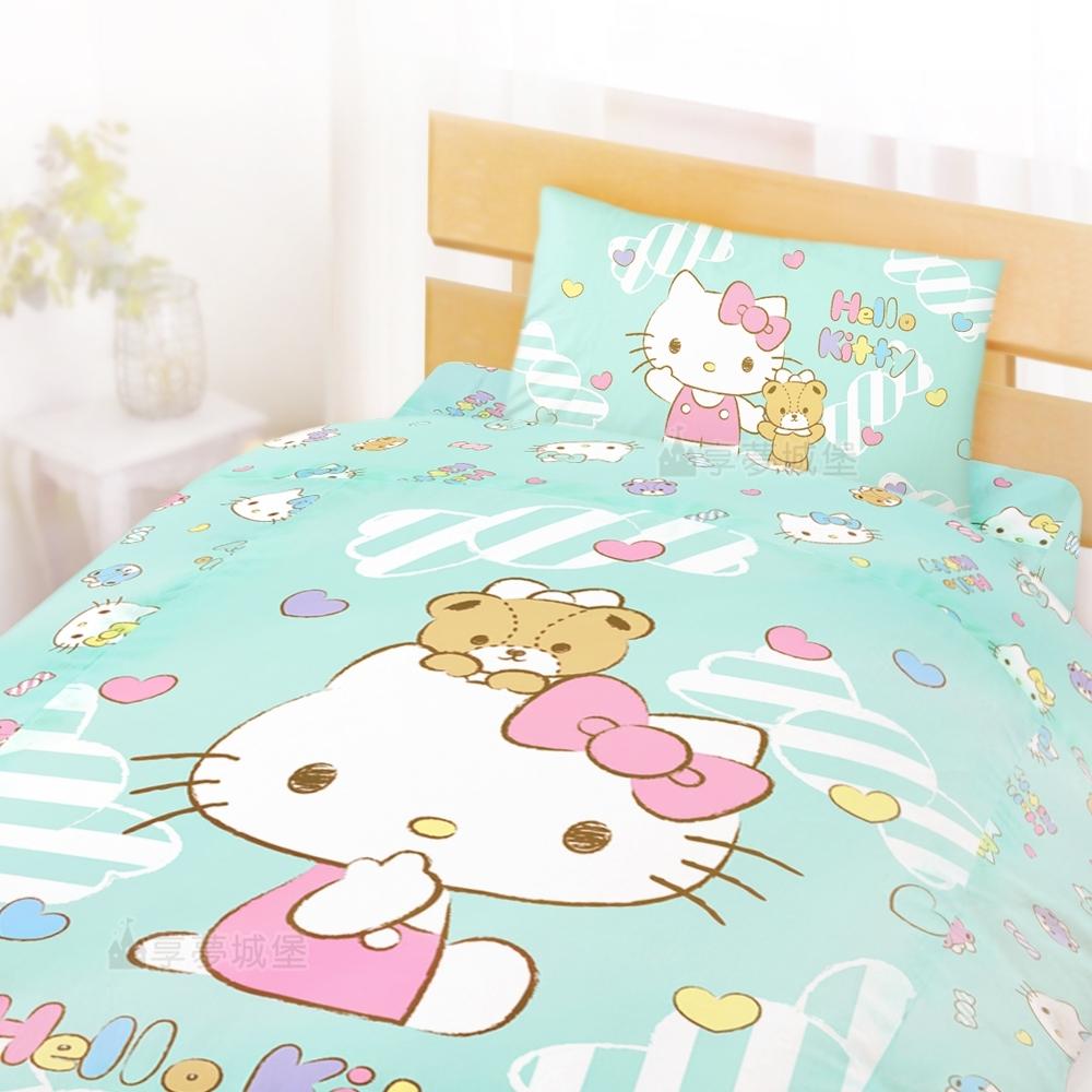 享夢城堡 單人床包涼被三件組-HELLO KITTY 糖果熊-粉.綠