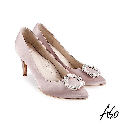 A.S.O 璀璨宴會細緻光澤緞面珍珠飾扣高跟鞋藕粉