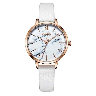 JULIUS聚利時 森林精靈大理石紋時尚腕錶-時尚白/29mm