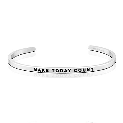 MANTRABAND Make Today Count 把握今天 銀色悄悄話手環