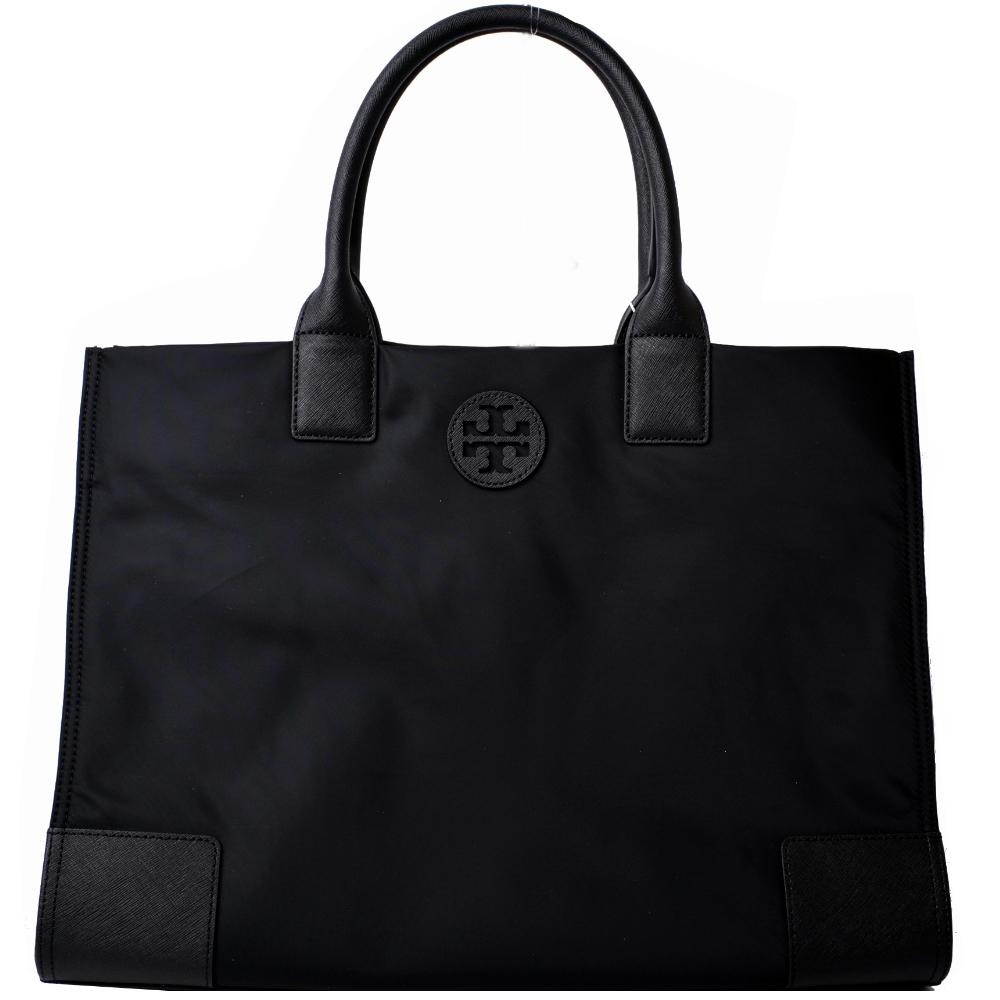 TORY BURCH ELLA縫線皮革LOGO尼龍釦飾肩背包-大/黑 @ Y!購物